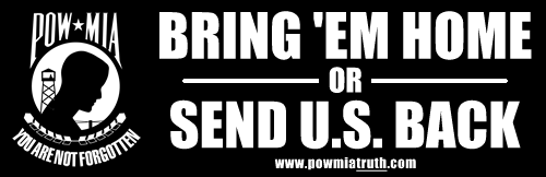 POWMIA Send Us Back sticker - 500w